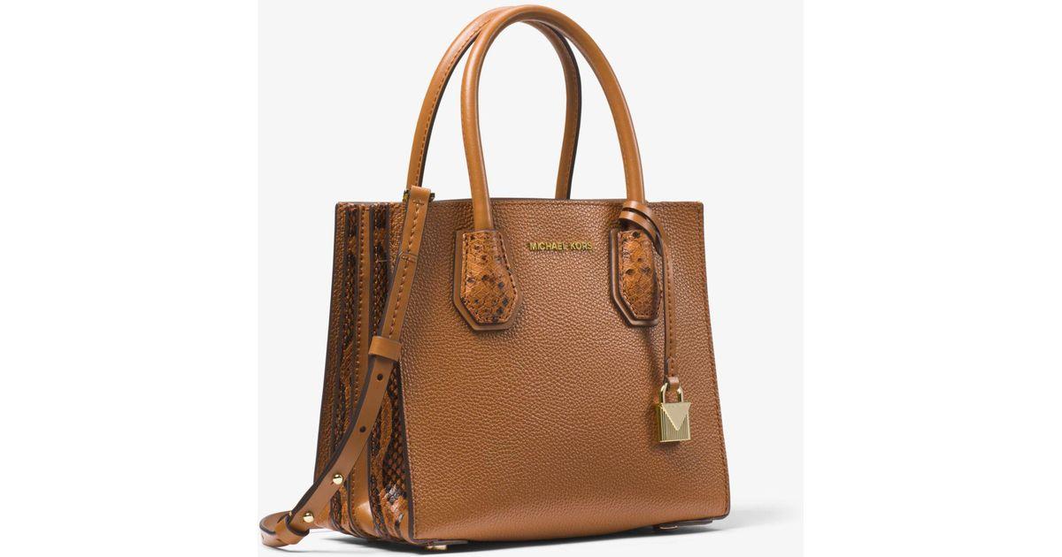 35a51cb379f9 Michael Kors Mercer Medium Pebbled Leather Accordion Crossbody Bag in Brown  - Lyst