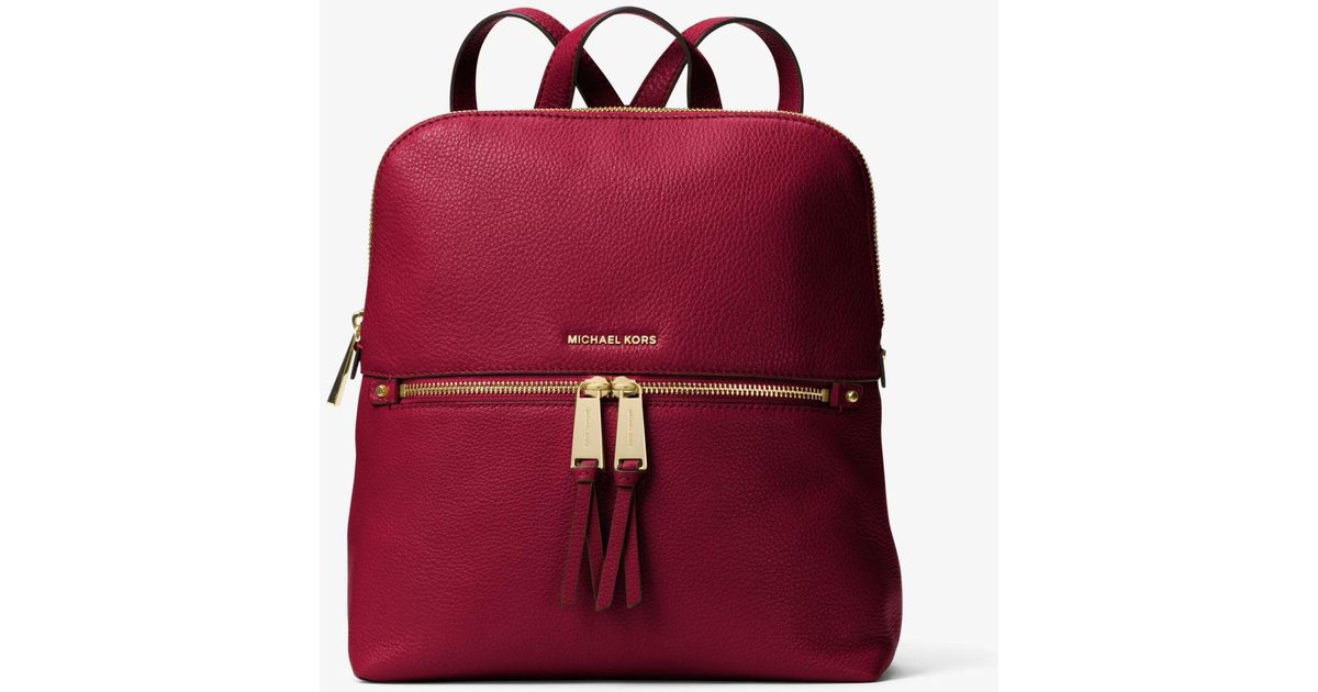 b20eec0cb Michael Kors Rhea Medium Slim Leather Backpack in Red - Lyst