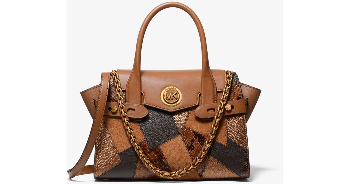 Michael Kors Brown Carmen Small Patchwork Embossed Leather Belted Satchel