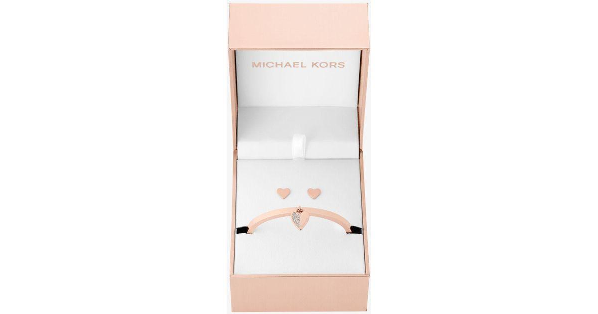 huge sale many fashionable outlet online Michael Kors Multicolor Rose Gold-tone Heart Hinge Bracelet And Stud  Earrings Set