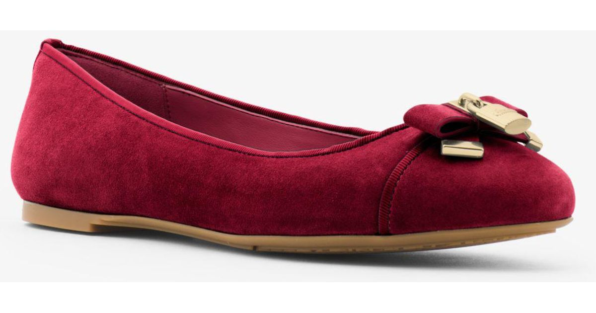 b1eb83610e05 Lyst - Michael Kors Alice Suede Ballet Flat in Red