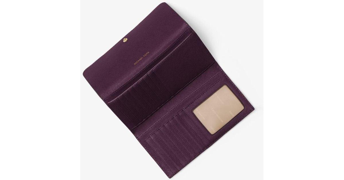 f20e59fa3904 Michael Kors Mercer Tri-fold Leather Wallet in Purple - Lyst