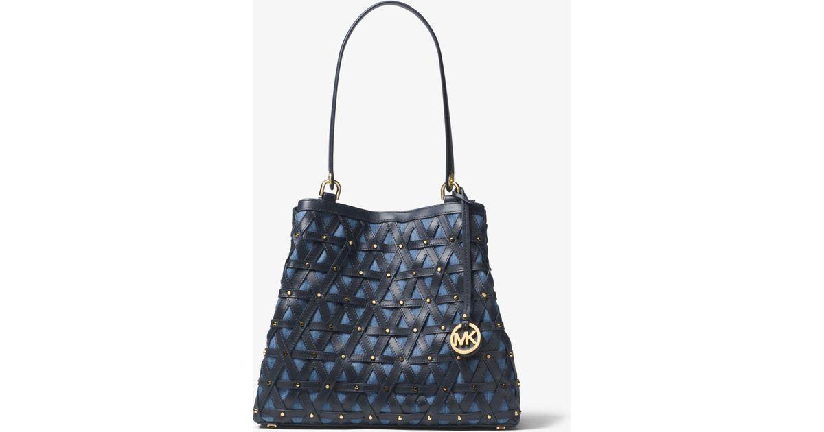 0e710eeca43b Michael Kors Brooklyn Large Leather And Denim Tote Bag in Blue - Lyst