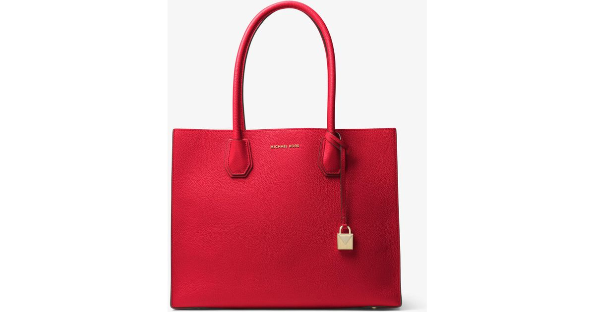 ebed799fe388 Lyst - Michael Kors Mercer Extra-large Leather Tote in Red