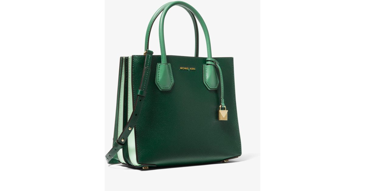 good texture where can i buy terrific value Michael Kors Green Mercer Tri-color Pebbled Leather Accordion Crossbody