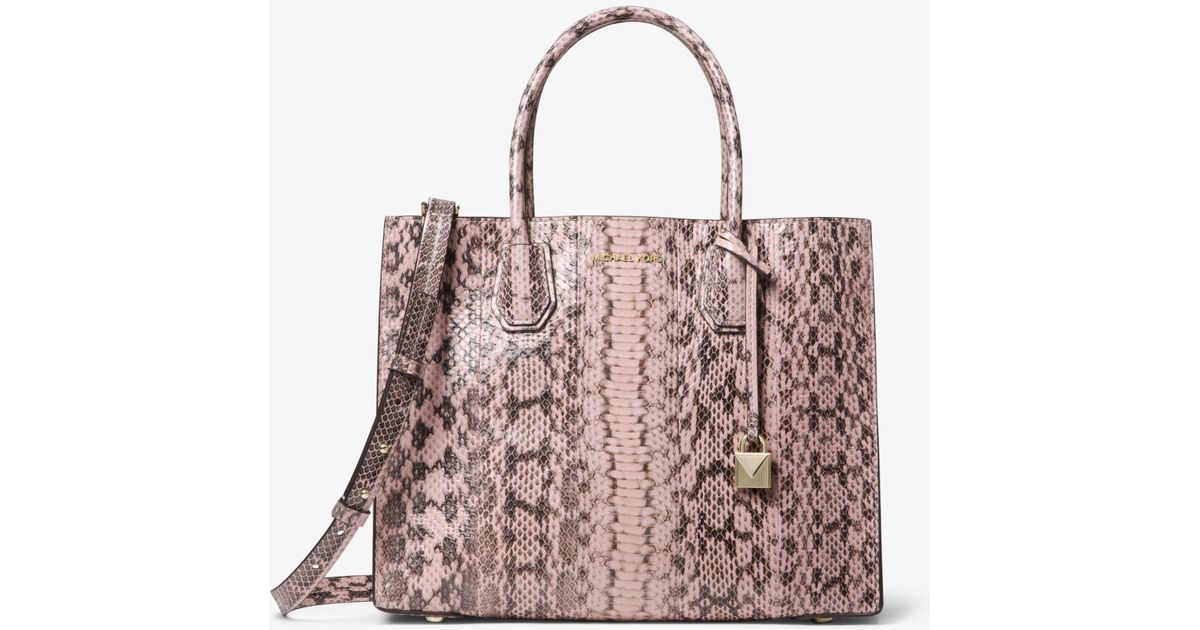 265a071263e8 Michael Kors Mercer Large Snakeskin Tote in Pink - Lyst