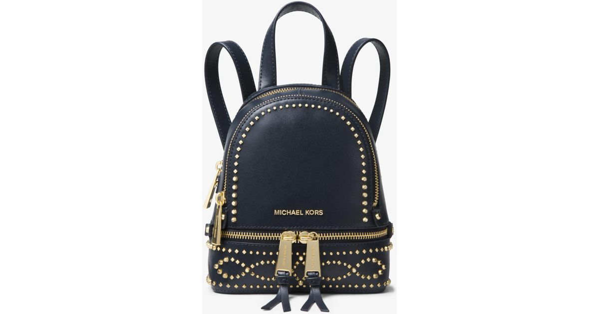 fedc8573c9ec Michael Kors Rhea Mini Studded Leather Backpack - Lyst
