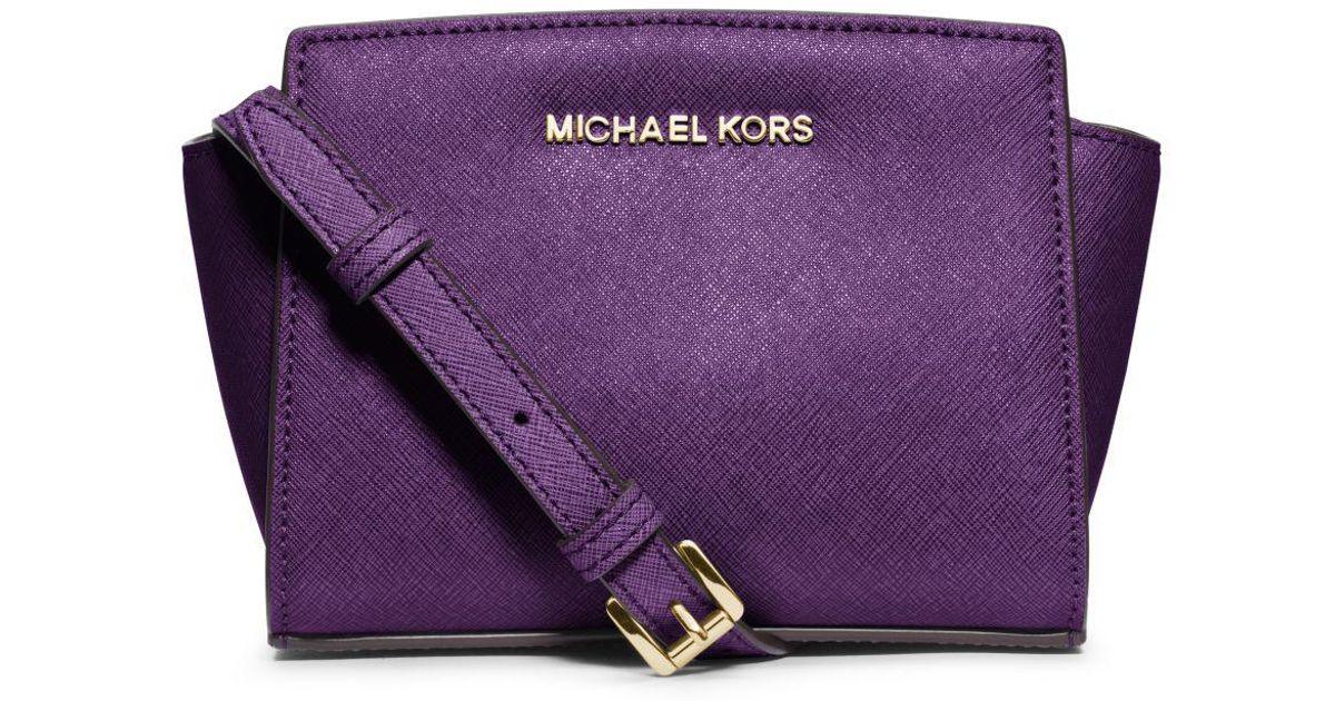 4a421d8d2e96b7 Michael Kors Selma Mini Saffiano Leather Crossbody in Purple - Lyst