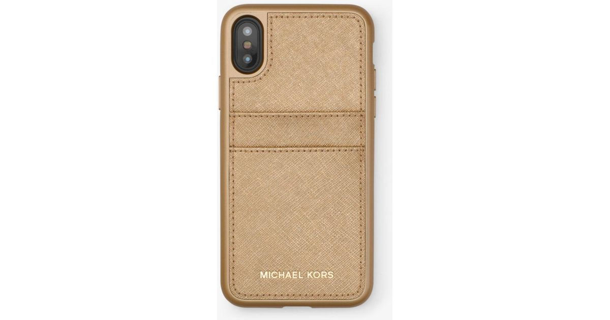 low priced e2f4c b3793 Michael Kors Metallic Saffiano Leather Phone Case For Iphone X