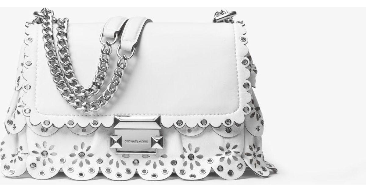 e00c943c28dde Lyst - Michael Kors Sloan Small Floral Scalloped Leather Shoulder Bag in  White