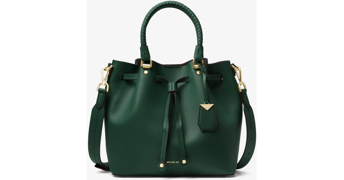 3c393cae60f34 Lyst - Michael Kors Blakely Leather Bucket Bag in Green