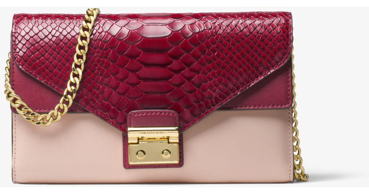 6cd381126153 Lyst - Michael Kors Sloan Color-block Leather Chain Wallet
