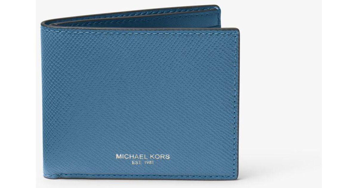 6c7860371c01 Lyst - Michael Kors Harrison Leather Slim Billfold Wallet in Blue for Men