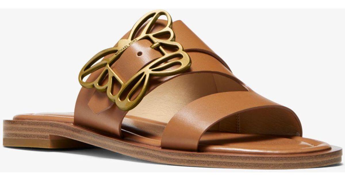 d1096da6e2d Michael Kors Brown Lyra Butterfly Embellished Leather Sandal