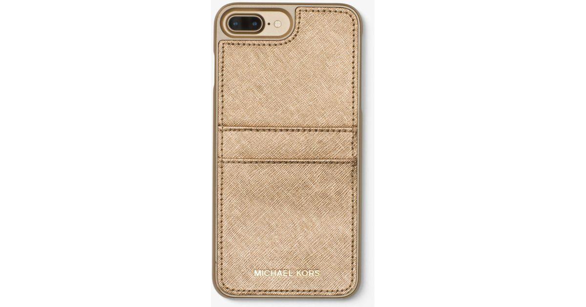sale retailer 16268 8ca37 Michael Kors Natural Metallic Saffiano Leather Phone Case For Iphone 7 Plus