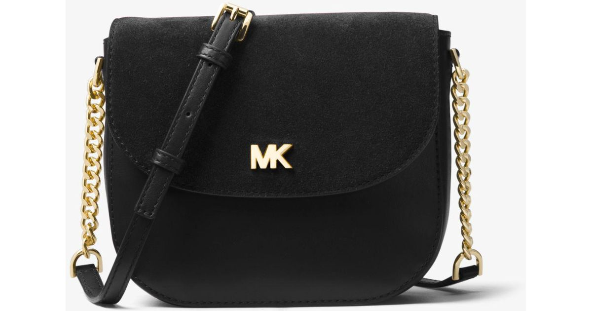 8471c7cb5e3e Lyst - Michael Kors Mott Leather And Suede Saddle Bag in Black