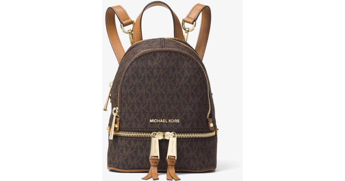 6c85a7e03a741 Michael Kors Rhea Mini Logo Backpack in Brown - Lyst