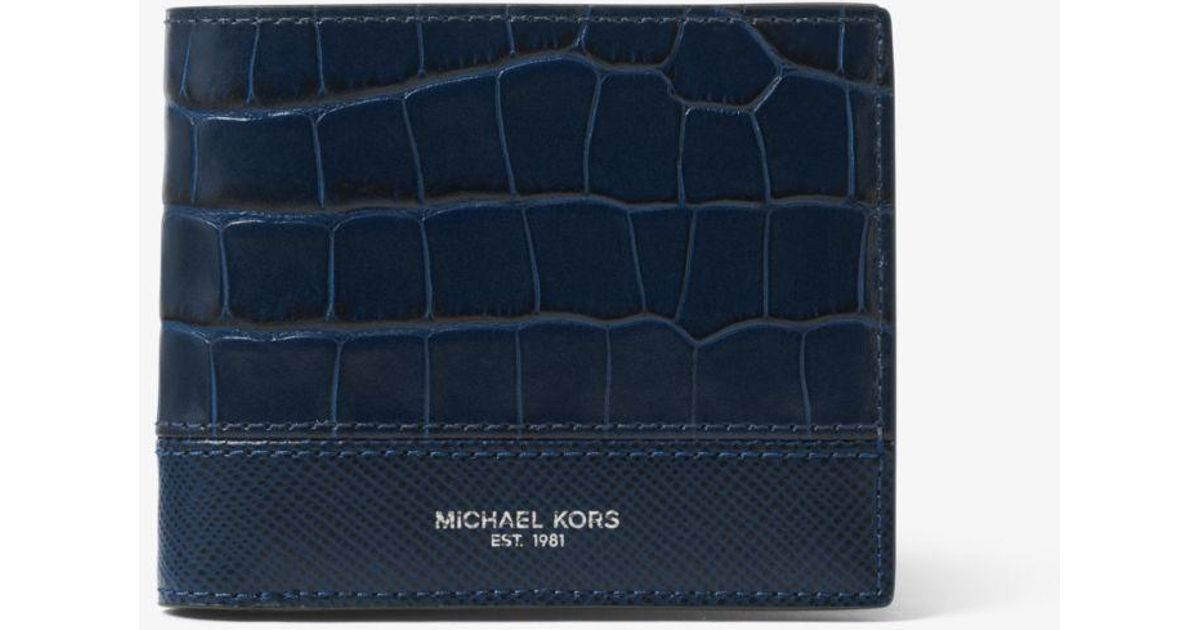 a9937928c24e Michael Kors Harrison Crocodile-embossed Leather Id Billfold Wallet in Blue  for Men - Lyst