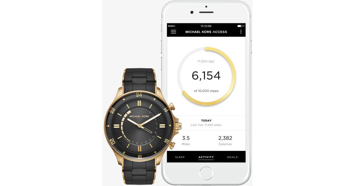 fa1d55f037a0 Lyst - Michael Kors Reid Gold-tone And Silicone Hybrid Smartwatch in Black