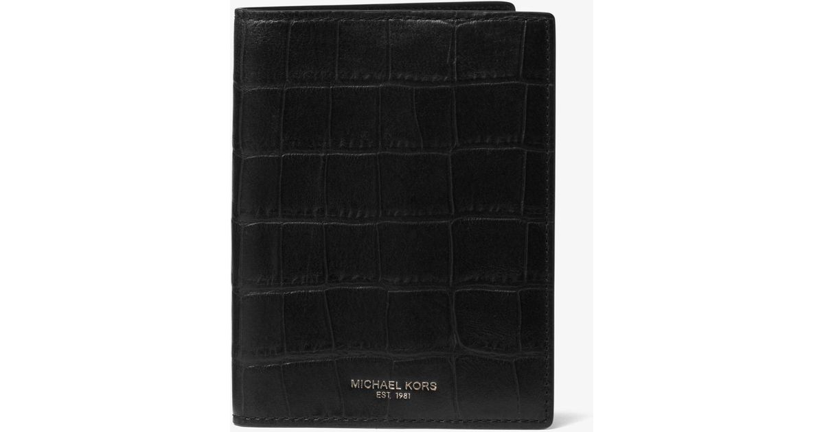 a5043eb7b64e9 Lyst - Michael Kors Bryant Embossed-leather Passport Cover in Black for Men