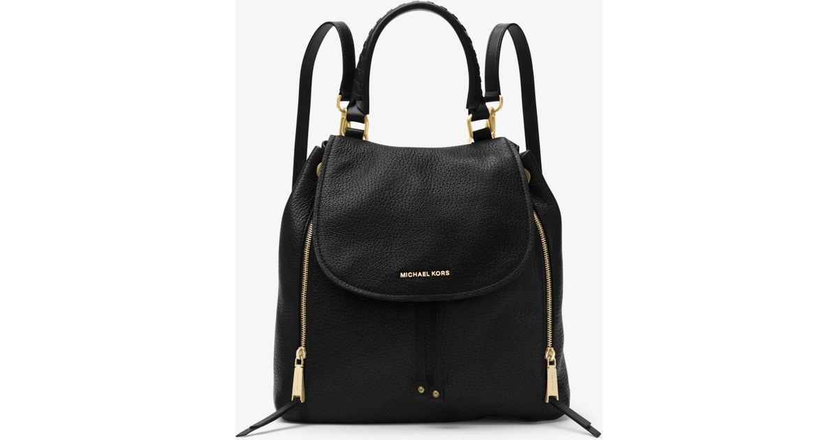 1d75ab8dd79d ... canada lyst michael kors viv large leather backpack in black 2cb69 ec94c