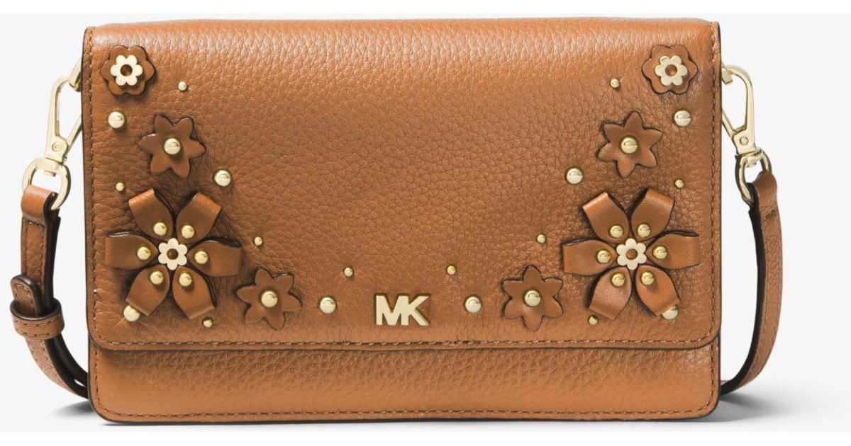 3c7f6eedc Michael Kors Floral Embellished Pebbled Leather Convertible Crossbody Bag  in Brown - Lyst
