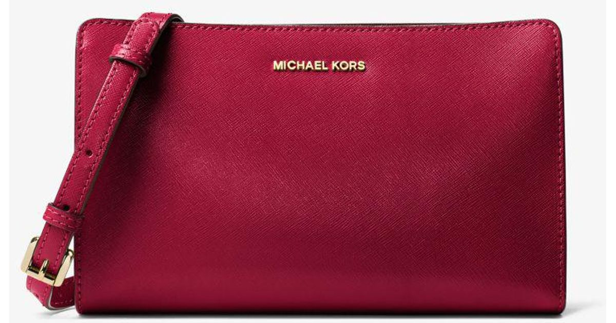 73b949a81449 Michael Kors Jet Set Travel Large Convertible Patent Leather Crossbody in  Red - Lyst