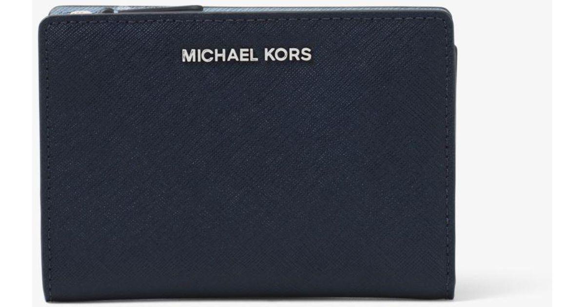 1f2860b227b3 Michael Kors Medium Saffiano Leather Slim Wallet in Blue - Lyst