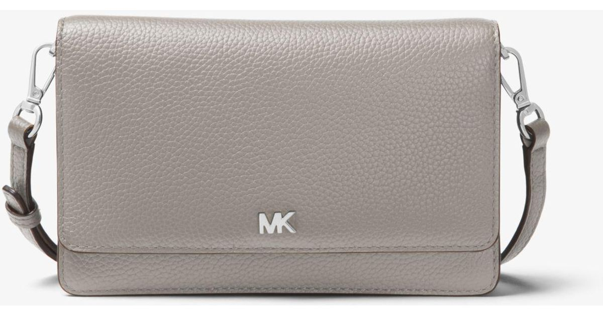 c4120614331d Lyst - Michael Kors Pebbled Leather Convertible Crossbody in Gray
