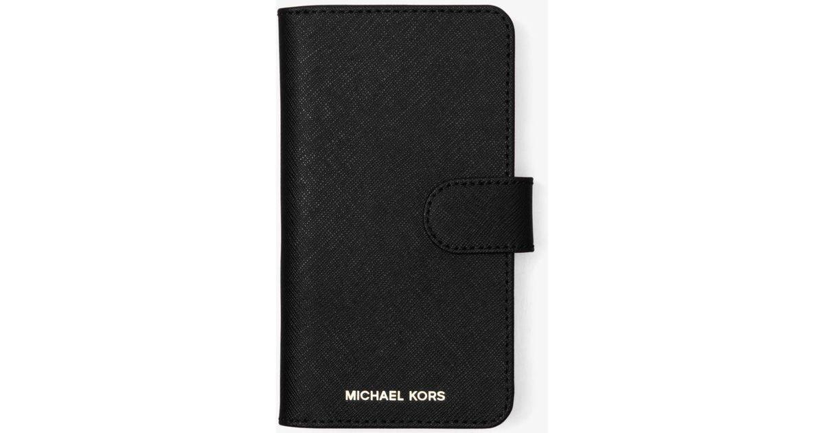 viele möglichkeiten wähle das Neueste Kunden zuerst MICHAEL Michael Kors Black Handyhülle zum Aufklappen aus Saffianleder für  iPhone X