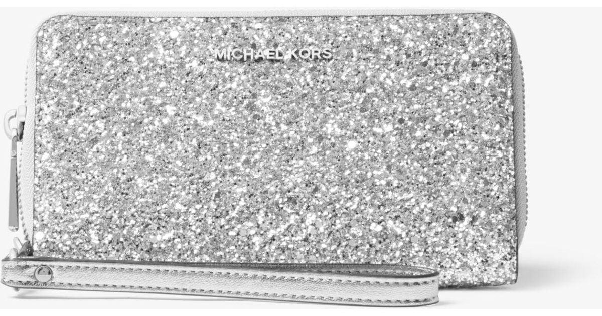 fd380321025053 Michael Kors Large Glitter Smartphone Wristlet in Metallic - Lyst