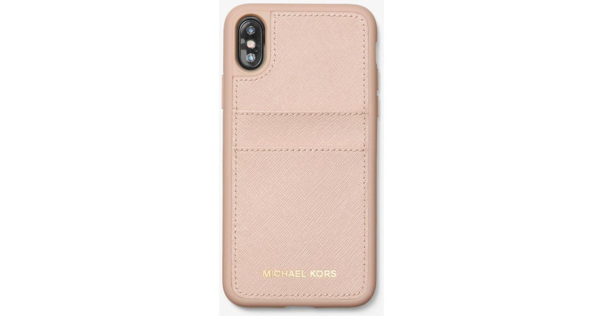 best website 37f53 659d2 Michael Kors Pink Saffiano Leather Case For Iphone X