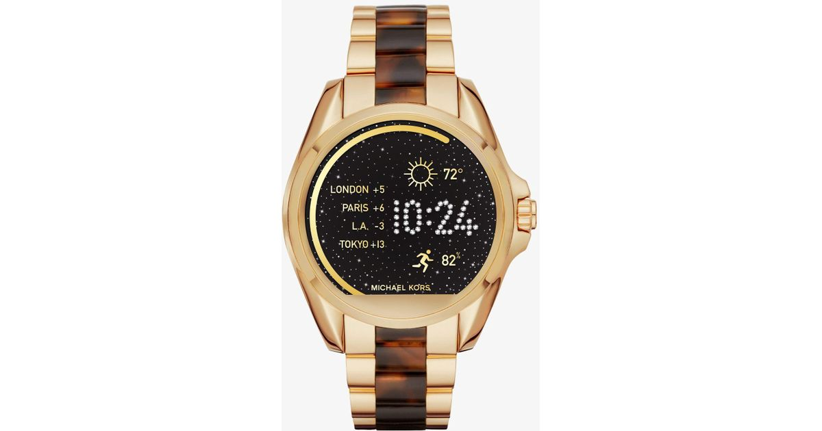 5042491f185 Lyst - Michael Kors Bradshaw Gold-tone And Acetate Smartwatch in Metallic