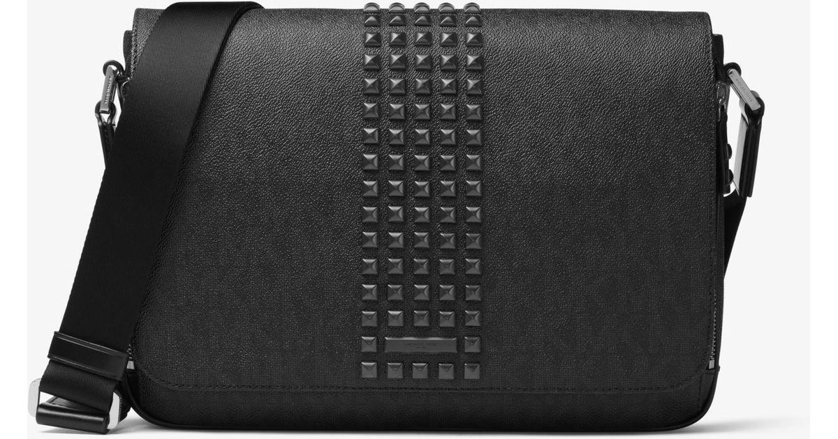 e8d3f2981335 Michael Kors Jet Set Studded Medium Logo Messenger in Black for Men - Lyst