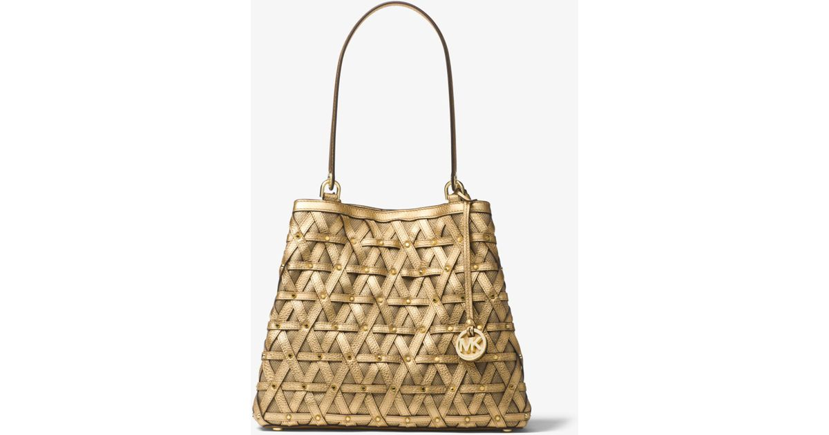 a705f70f61db ... backpack cinder baa5c 934a8 denmark lyst michael kors brooklyn large  metallic leather and canvas tote in metallic 4f0d9 2a3e6 ...