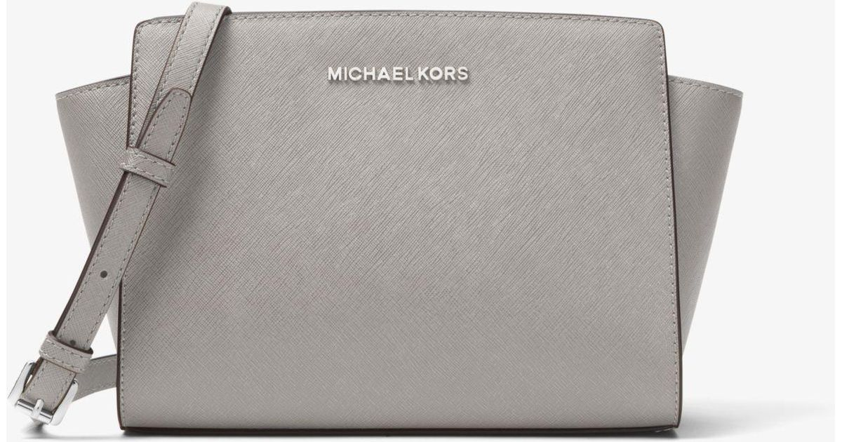 e7f7cf47aef81a Michael Kors Selma Medium Saffiano Leather Crossbody in Gray - Lyst