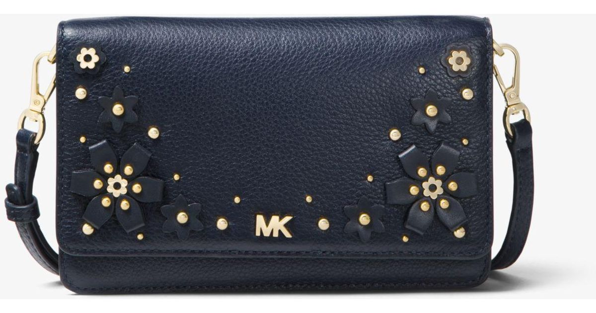 c6d3eff41 Michael Kors Floral Embellished Pebbled Leather Convertible Crossbody Bag  in Blue - Lyst