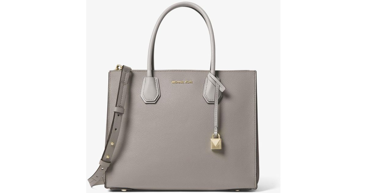 6bdeb461e180 Lyst - Michael Kors Mercer Large Pebbled Leather Accordion Tote in Gray
