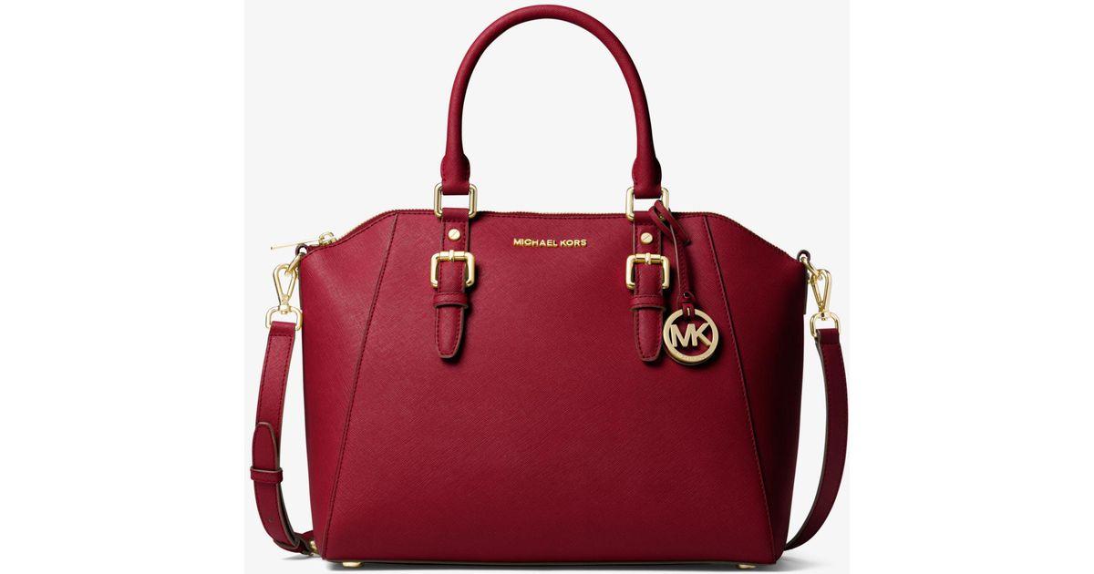 d445f85b1e949 Michael Kors Ciara Large Saffiano Leather Satchel - Lyst