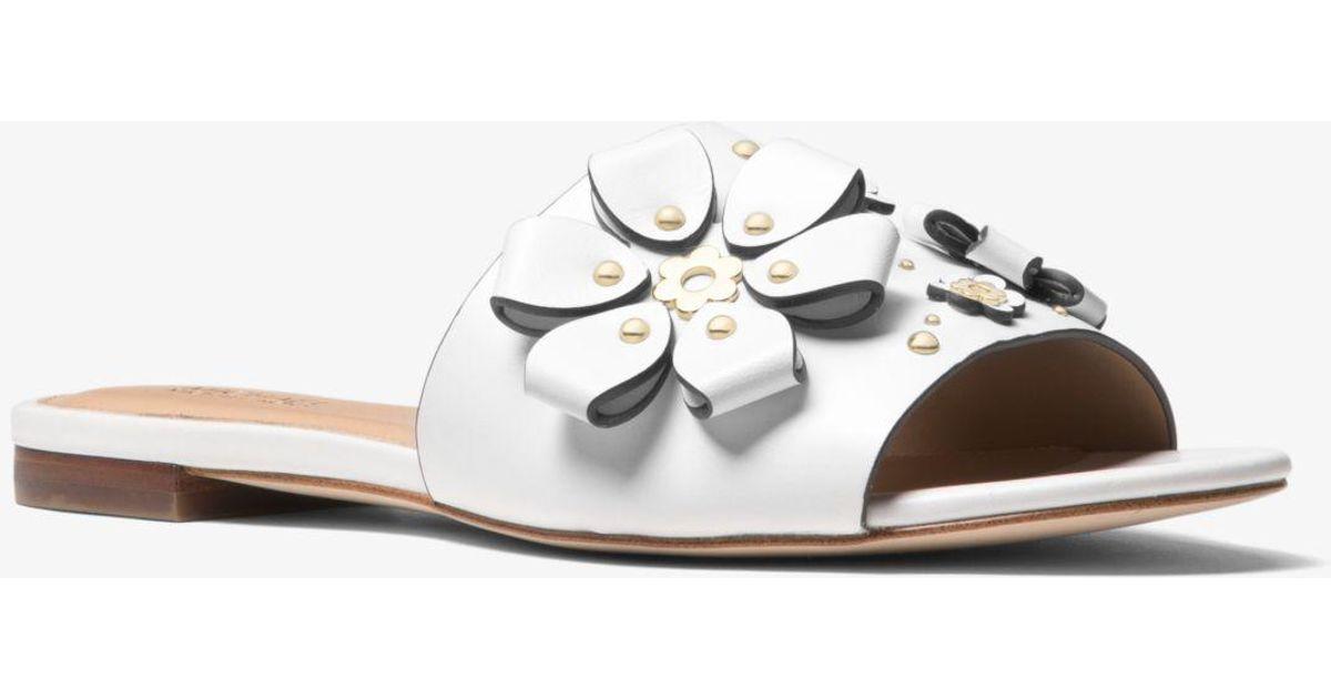 ac9e5ef9951 Michael Kors Tara Floral Embellished Leather Slide in White - Lyst