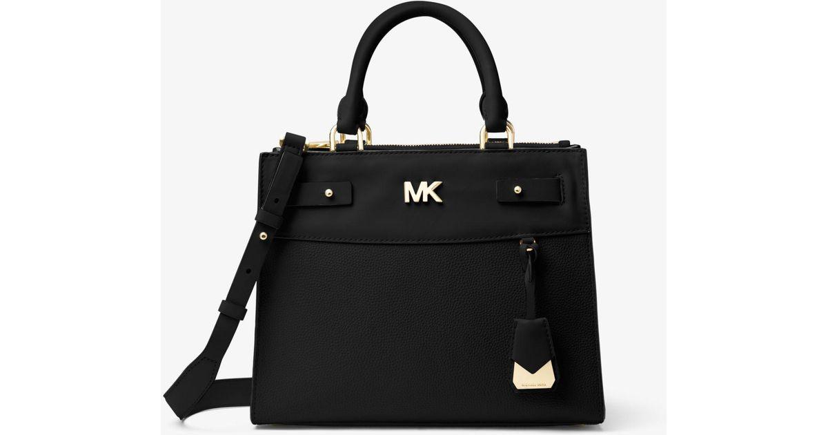sweden michael kors karla md leather satchel bag blossom 35t8gkgs2l 36998  edd98  promo code for lyst michael kors reagan medium leather satchel in  black ... 33925891bef21