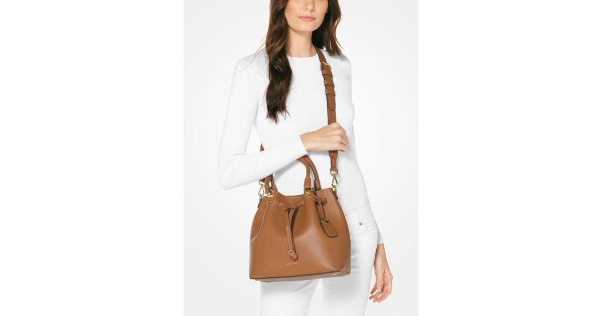 c35a3b54e75 Michael Kors Brown Blakely Leather Bucket Bag