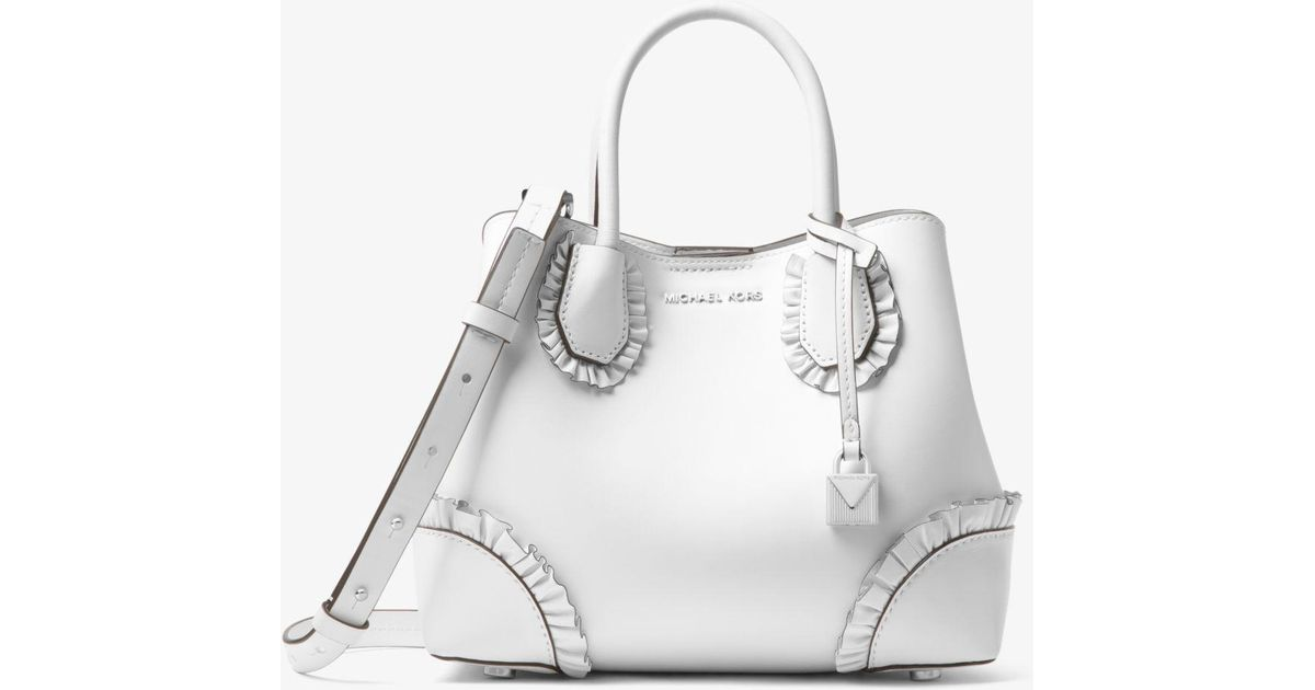 aea66907ff9d9 Lyst - Michael Kors Mercer Gallery Small Ruffled Leather Satchel in White