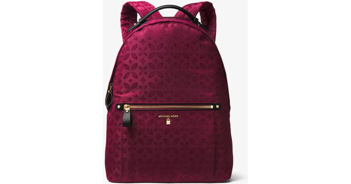 5e1cd29db5b2 Lyst - Michael Kors Kelsey Large Floral Nylon Backpack in Purple