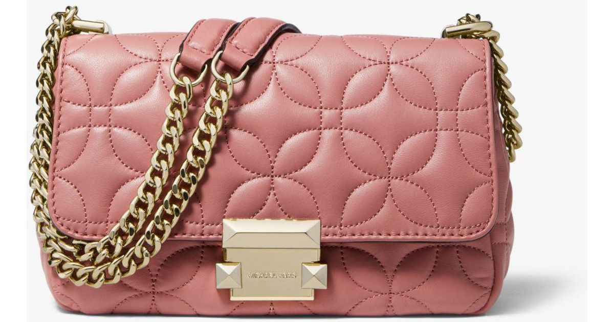 a5b971051371 Michael Kors Sloan Small Floral Quilted Leather Shoulder Bag in Pink - Save  25% - Lyst