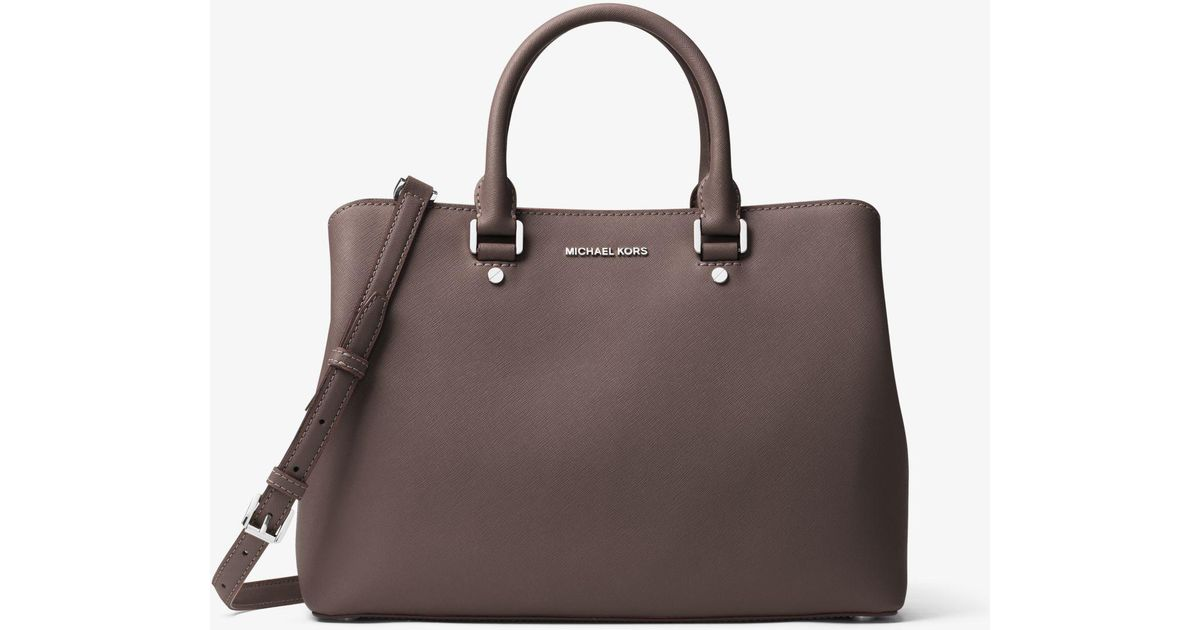 be096d873906f Lyst - Michael Kors Savannah Large Saffiano Leather Satchel in Brown