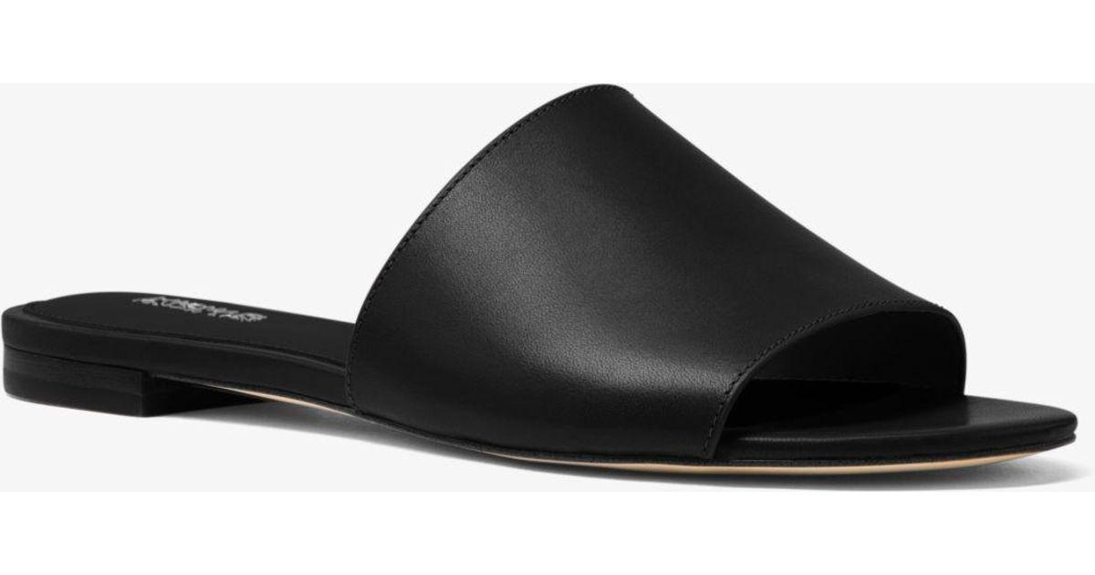 Kors Leather Black Shelly Slide Michael qzVMGSUp