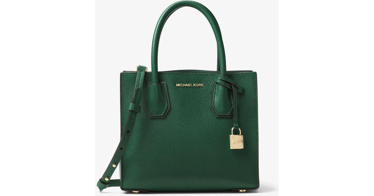 00c82e0a2a44 ... low price lyst michael kors mercer medium leather bag in green e78e0  bd419