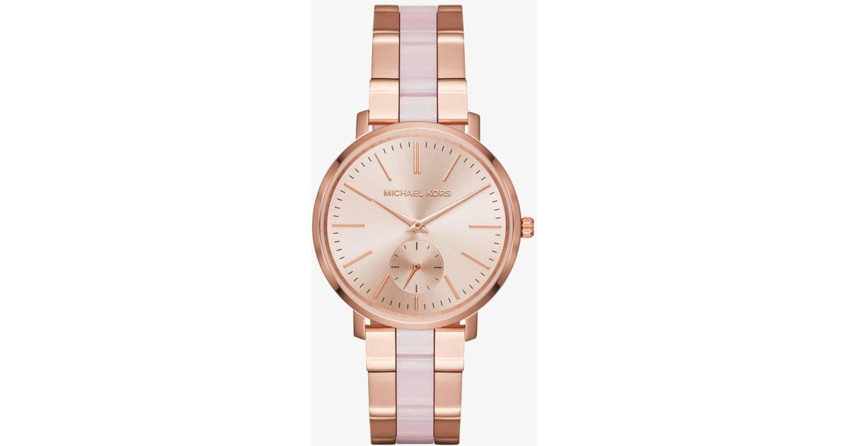 Michael Kors Jaryn Rose Gold Tone And Acetate Watch In Metallic Lyst