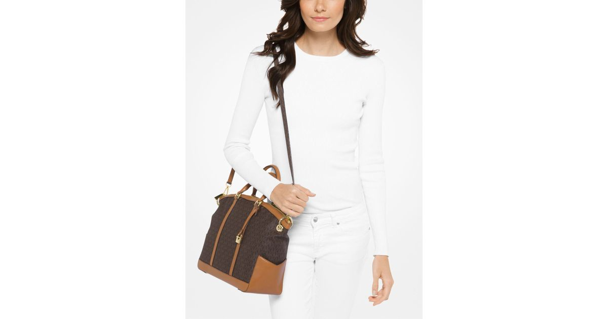 2fc0ec809cd0 Lyst - Michael Kors Beckett Large Logo Satchel in Brown